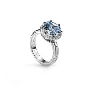 Anello in oro bianco, acquamarina e diamanti