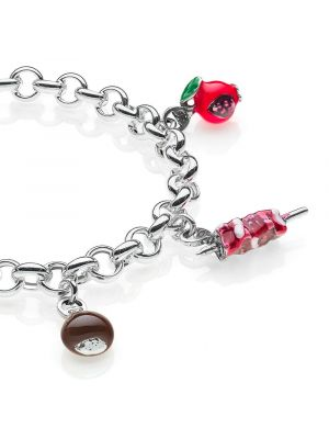 Rolo Premium Bracelet with Abruzzo Charms in Sterling Silver and Enamel