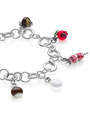 Rolo Luxury Bracelet with Abruzzo Charms in Sterling Silver and Enamel