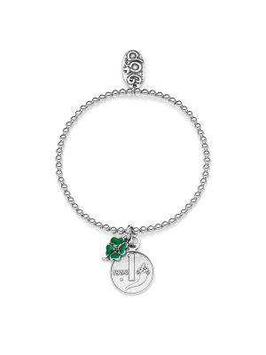 Elastic Boule Bracelet with 1 Lira Cornucopia Coin and Mini Four-Leaf Clover Lucky Charms in Sterling Silver and Enamel