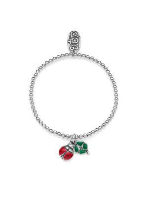 Elastic Boule Bracelet with Mini Four-Leaf Clover and Ladybug Lucky Charms in Sterling Silver and Enamel