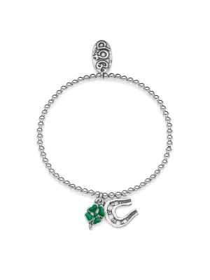 Elastic Boule Bracelet with Mini Horseshoe Charms and Four-Leaf Clover Lucky Charm in Sterling Silver and Enamel