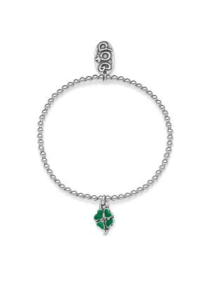 Elastic Boule Bracelet with Mini Four-Leaf Clover Charm in Sterling Silver and Enamel