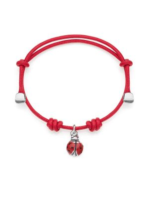 Cotton Cord Bracelet with Ladybug Charm in Sterling Silver and Enamel