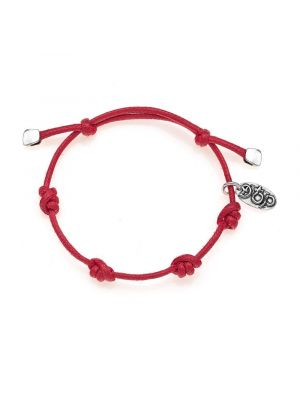 Cotton Cotton Cord Bracelet in Red Waxed Cotton and Sterling Silver