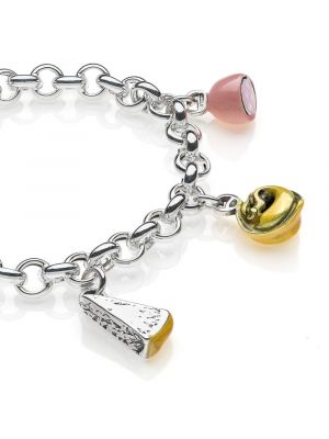 Rolo Premium Bracelet with Emilia Romagna Charms in Sterling Silver and Enamel