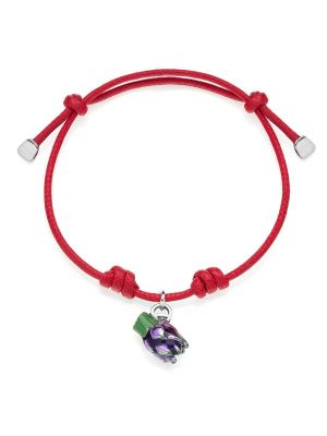 Cotton Cord Bracelet with Artichoke Charm in Sterling Silver and Enamel