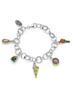 Rolo Luxury Bracelet with Liguria Charms in Sterling Silver and Enamel