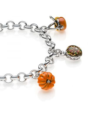 Rolo Premium Bracelet with Lombardy Charms in Sterling Silver and Enamel