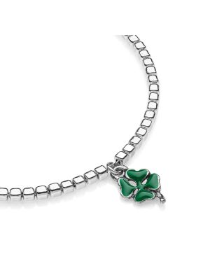 Cubetti Mens Bracelet with Mini Four-Leaf Clover Charm in Sterling Silver and Enamel