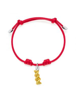 Cotton Cord Bracelet with Fusillo Pasta Charm in Sterling Silver and Enamel
