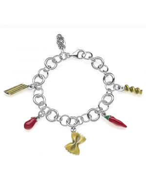 Premium Bracelet with Pasta Charms in Sterling Silver and Enamel