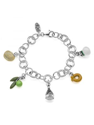 Luxury Bracelet with Puglia Charms in Sterling Silver and Enamel