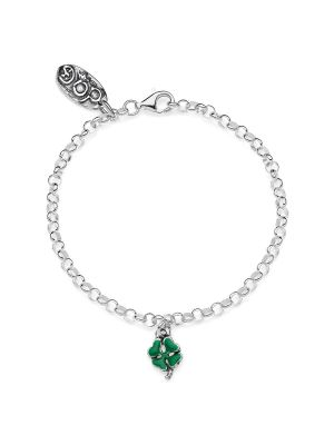 Rolo Mini Bracelet with Mini Four-Leaf Clover Charm in Sterling Silver and Enamel