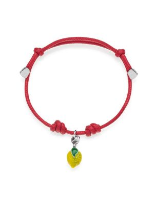 Cotton Cord Bracelet with Lemon Charm in Sterling Silver and Enamel