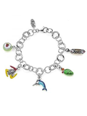 Luxury Bracelet with Sicilian Charms in Sterling Silver and Enamel