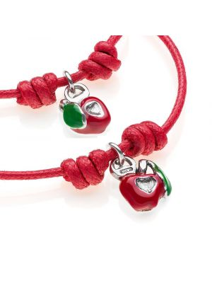 Waxed Cotton Bracelets with Right and Left Apple Heart Charms in Sterling Silver and Enamel