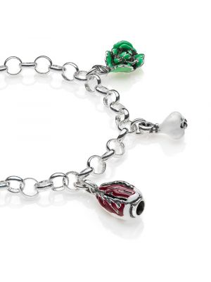 Rolo Light Bracelet with Veneto Charms in Sterling Silver and Enamel