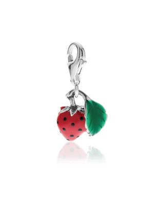 Charm Fragola in Argento 925 e Smalti