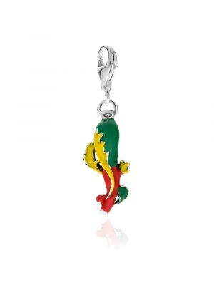 Ace of Sticks Charm in Sterling Silver and Enamel