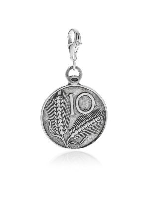 10 Lire Spiga Coin Charm in Sterling Silver