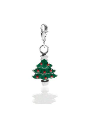 Christmas Tree Charm in Sterling Silver and Enamel