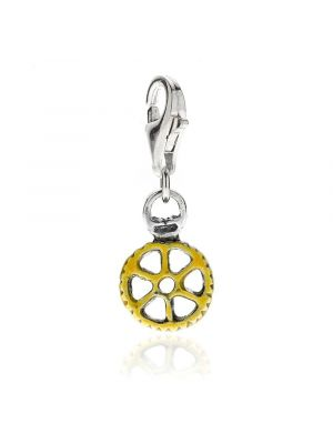Pasta Wheel Charm in Sterling Silver and Enamel