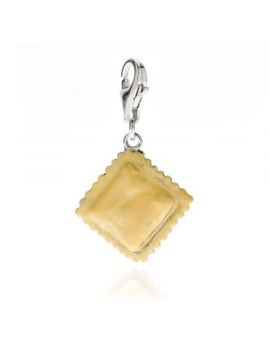 Ravioli Charm in Sterling Silver and Enamel