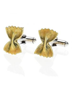 Farfalle Pasta Cufflinks in Sterling Silver and Enamel