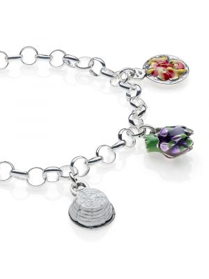 Rolo Light Bracelet with Lazio Charms in Sterling Silver and Enamel