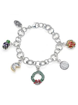 Rolo Luxury Bracelet with Lazio Charms in Sterling Silver and Enamel