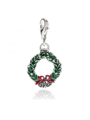 Laurel Wreath Charm in Sterling Silver and Enamel