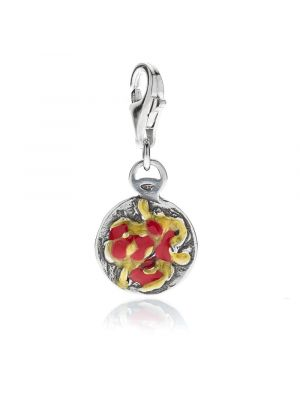 Bucatini Amatriciana Charm in Sterling Silver and Enamel