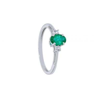 Anello con Diamanti ct 0.04 e Smeraldo ct 0.40