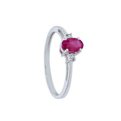 Anello con Diamanti ct 0.04 e Rubino ct 0.40