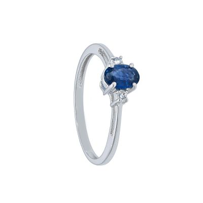 Anello con Diamanti ct 0.04 e Zaffiro ct 0.40