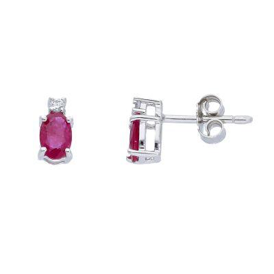 Orecchini con Diamanti ct 0.04 e Rubini ct 0.40