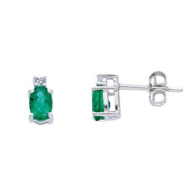 Orecchini con Diamanti ct 0.04 e Smeraldi ct 0.80