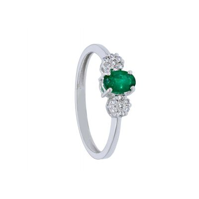Anello con Diamanti e Smeraldo ct 0.40