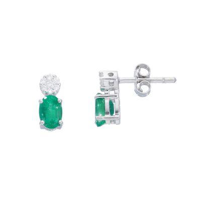 Orecchini con Diamanti e Smeraldi ct 0.80