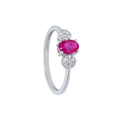 Anello con Diamanti e Rubino ct 0.50