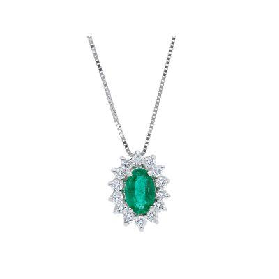 Girocollo con Diamanti e Smeraldo ct 0.45