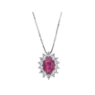 Girocollo con Diamanti e Rubino ct 0.45