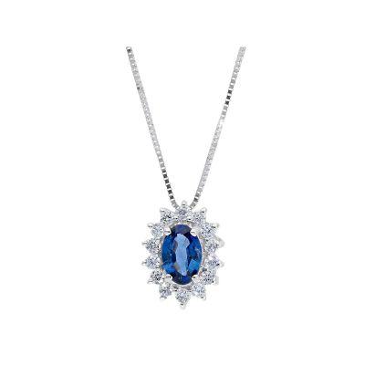 Girocollo con Diamanti e Zaffiro ct 0.48