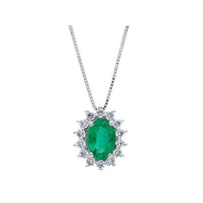 Girocollo con Diamanti e Smeraldo ct 1.06
