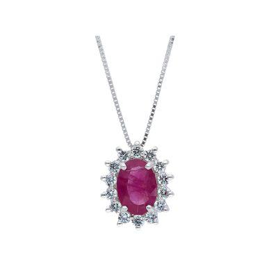 Girocollo con Diamanti e Rubino ct 0.99