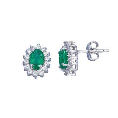 Orecchini con Diamanti e Smeraldi ct 0.84