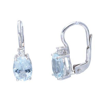 Orecchini Monachella con Diamanti e Acquamarina ct 2.20