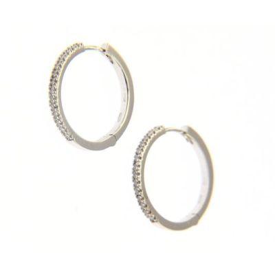Orecchini Cerchi Oro Bianco e Diamanti ct 0,22 G
