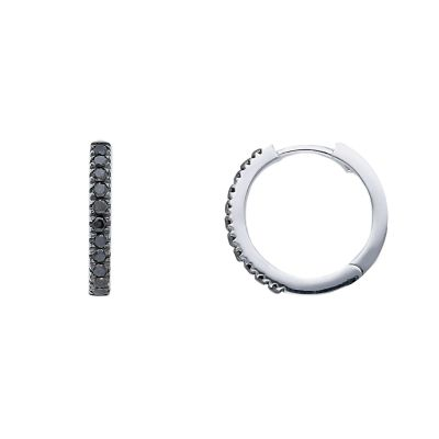 Orecchini Cerchi Diamanti Black ct 0,21